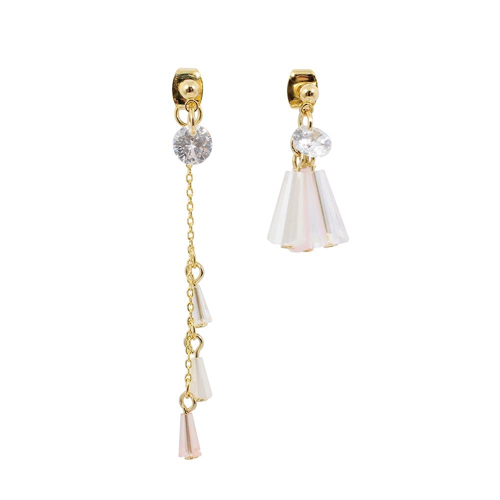 Prisme美國時尚飾品 粉色水晶 垂墜金色耳環 耳針式