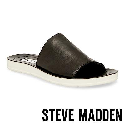 STEVE MADDEN-PORTER-皮革透氣平底拖鞋-黑色