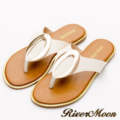 River&Moon中大尺碼-金屬橢圓夾腳飾金邊涼拖鞋-米白