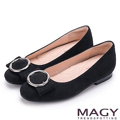 MAGY OL通勤專屬 造型圓釦平底娃娃鞋-黑色