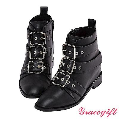 Grace gift X Wei唐葳-帶釦鉚釘內增高短靴 黑