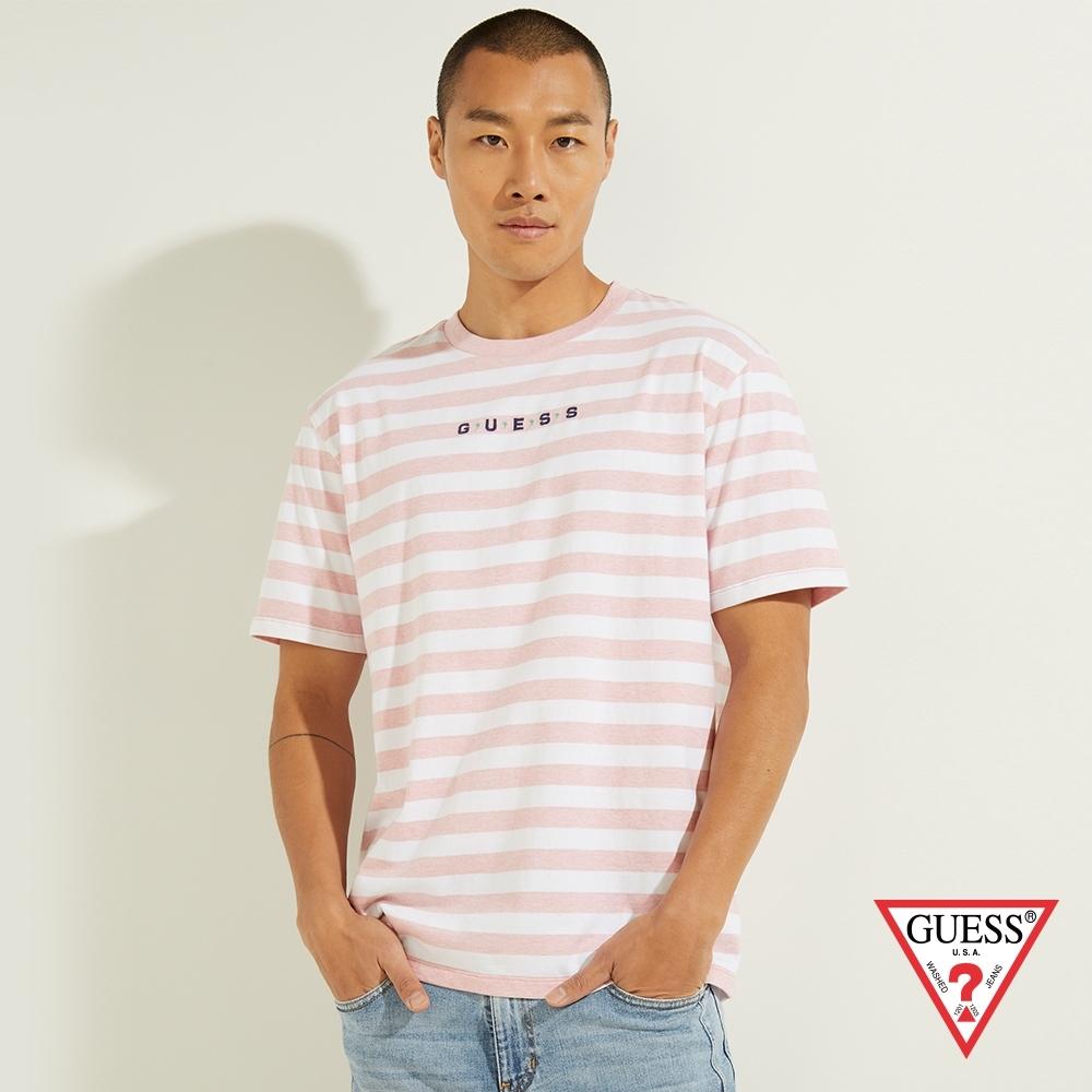 GUESS-男女同款-ORIGINALS系列刺繡LOGO條紋短T-粉 原價1490