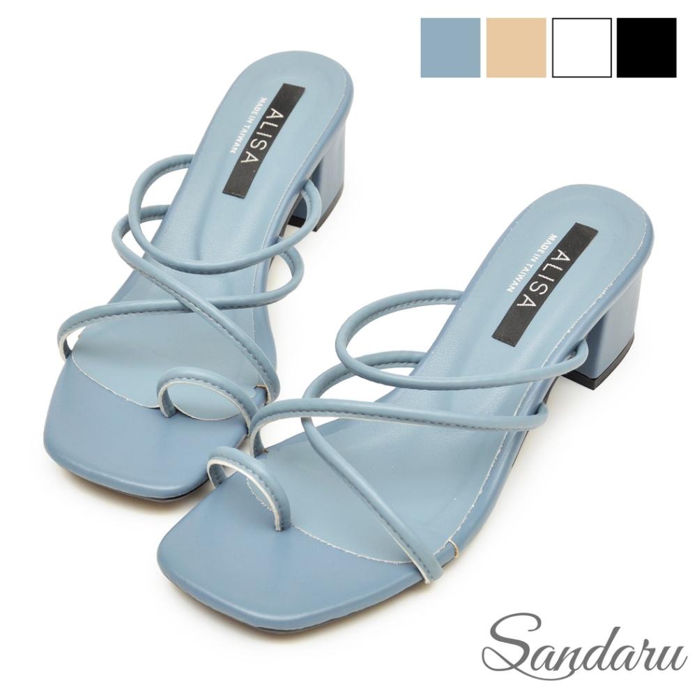 山打努SANDARU-拖鞋 交叉細帶套趾中跟鞋-藍