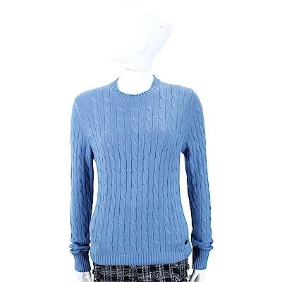 Andre Maurice 喀什米爾蔚藍色麻花織紋羊毛衫