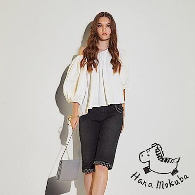 Hana+花木馬 刷色牛仔波點印花時尚休閒膝上造型五分馬褲-黑(共2色)