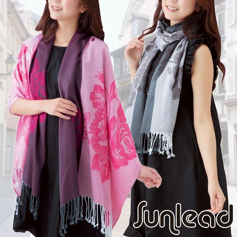 Sunlead 浪漫花朵織紋長版緹花拼色保暖圍巾/披肩