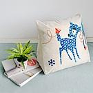 【收納職人】Zakka日系雜貨風手感棉麻織紋舒壓三角抱枕/靠枕/腿枕(藍色小鹿)