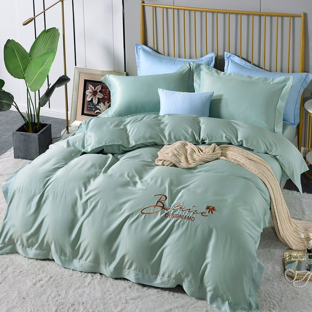 (超值加購枕套) Betrise極簡純色 抗菌天絲素色刺繡系列 超值薄被套+薄枕套床包組 (04.晨暮破曉-單人床包枕套二件組)