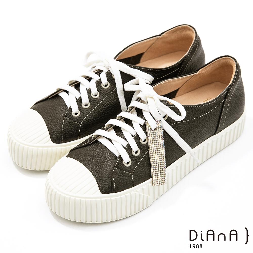 DIANA 3.5公分質感牛皮水鑽飾條餅乾鞋底休閒鞋-漫步雲端焦糖美人款-黑