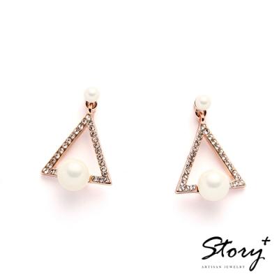 STORY故事銀飾-氣質時尚耳環-三角珍珠晶鋯耳環