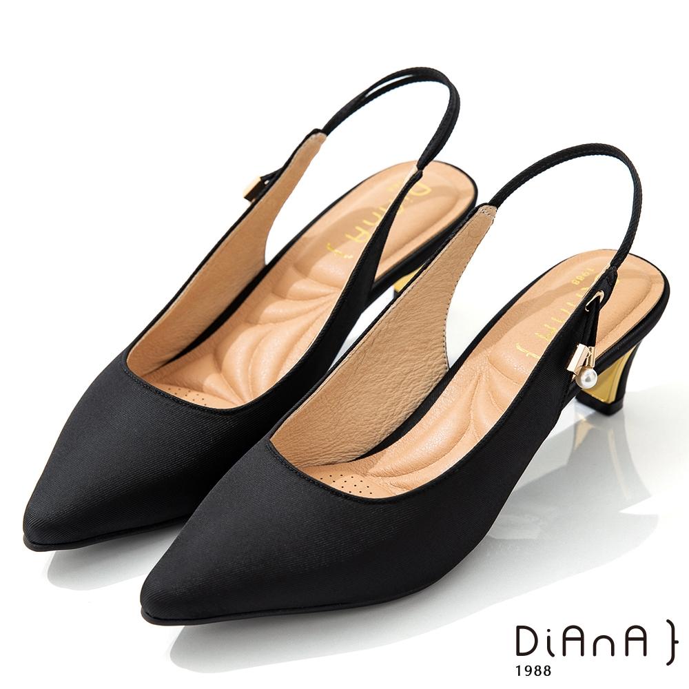 DIANA 6cm質感進口漸變雙色布珍珠釦飾尖頭穆勒跟鞋-優雅女伶-黑