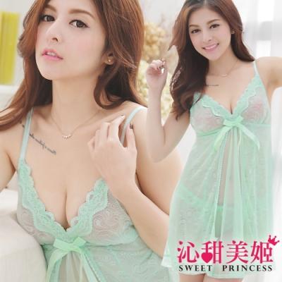 奢華網紗睡衣裙組 細肩帶深V美胸+幾何繡花雙層裙擺 沁甜美姬(湖綠)