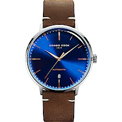 GIORGIO FEDON 1919 CF 復古系列機械錶-藍x咖啡色/42mm