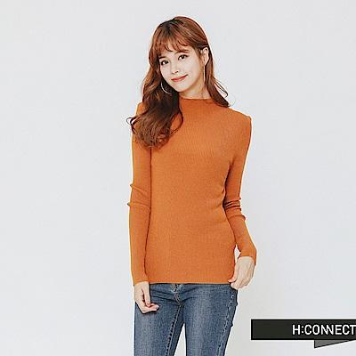 H:CONNECT 韓國品牌 女裝-簡約坑條針織上衣-黃