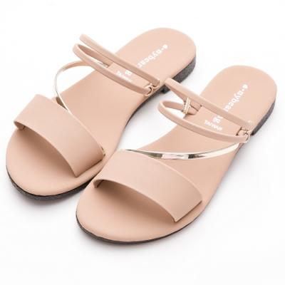 River&Moon拖鞋 台灣製舒適寬版金色斜條2way平底涼鞋 粉杏