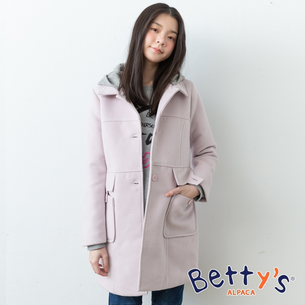betty's貝蒂思 高雅毛呢素面長版大衣(淺紫)