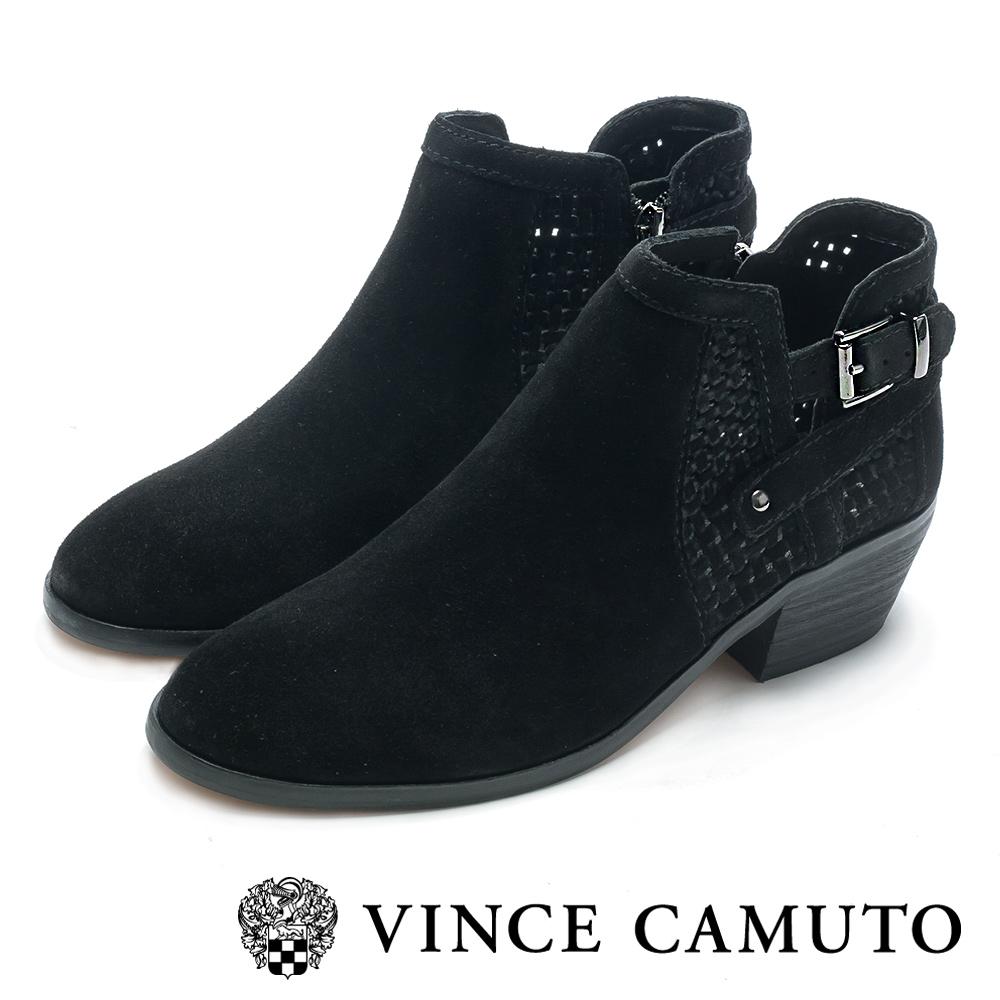 VINCE CAMUTO 西部感編織金屬扣中跟踝靴-絨黑