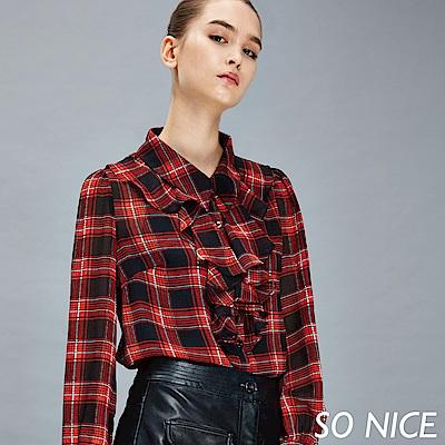 SO NICE復古紅格紋雪紡透視襯衫