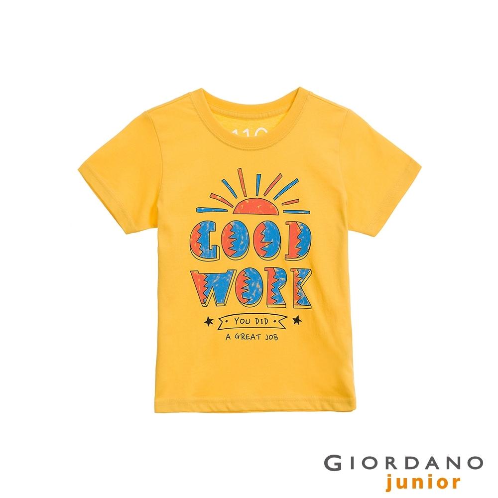 GIORDANO  童裝手繪風短袖印花T恤 - 02 含羞草黃