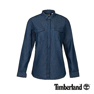 Timberland 女款靛藍色雙口袋牛仔修身長袖襯衫|A1M95