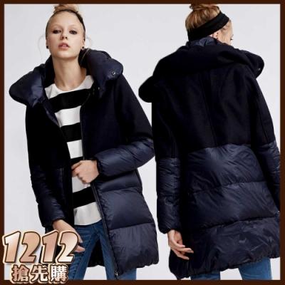 [時時樂限定]ETBOITE 箱子 高質感羊毛拼接可拆領長版羽絨大衣