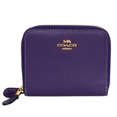 COACH深紫荔枝紋全皮雙層ㄇ型拉鍊短夾