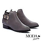 短靴 MODA Luxury 異材質拼接時尚金屬釦環全真皮粗跟短靴-灰