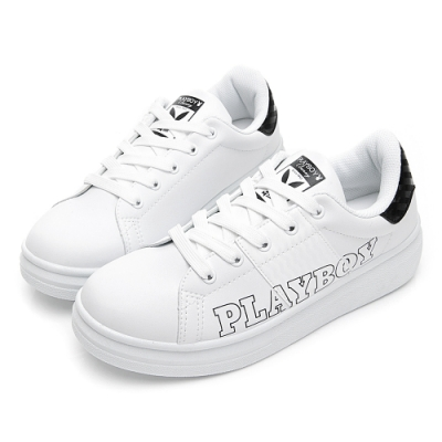 PLAYBOY 字母仿皮綁帶休閒鞋-白黑-Y57101C