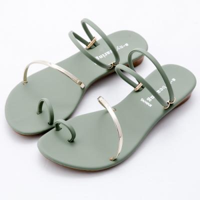 River&Moon涼鞋 台灣製金色斜條2way夾趾低跟涼鞋 綠