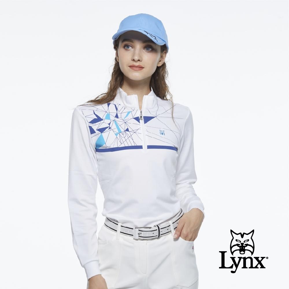 【Lynx Golf】女款吸汗速乾半身萬花筒印花山貓繡花長袖立領POLO衫-白色