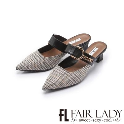FAIR LADY 優雅小姐尖頭金屬鍊一字寬帶穆勒低跟鞋 格紋金