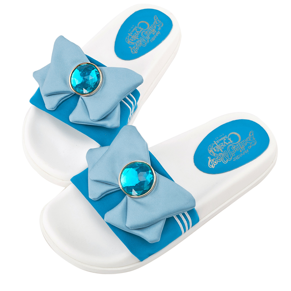 Grace gift-美少女戰士水手蝴蝶結休閒拖鞋 藍