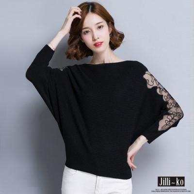 JILLI-KO 透膚紗織拼接身寬版薄毛衣- 卡/黑