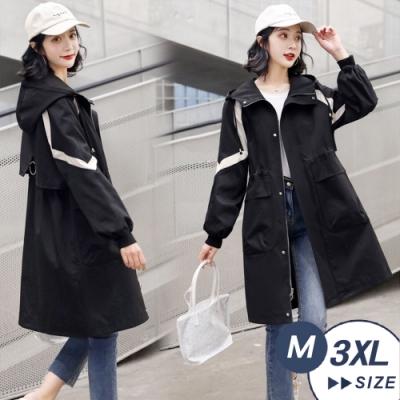 【LANNI 藍尼】現貨 線條設計連帽氣質修身風衣外套(風衣/大衣)