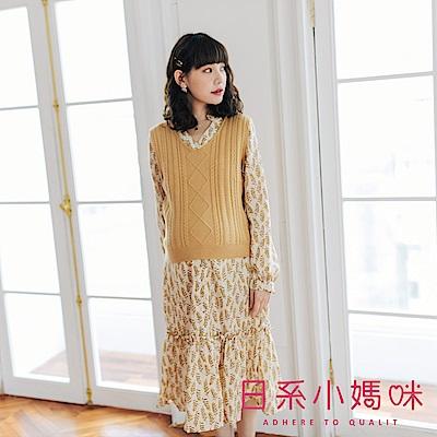 日系小媽咪孕婦裝-孕婦裝 秋氛樹葉二件式針織背心襯衫洋裝