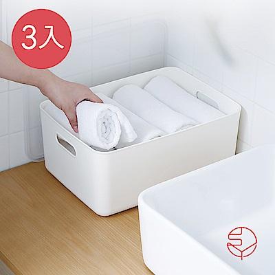 【日本霜山】無印風霧面 附蓋 把手收納盒-M-3入