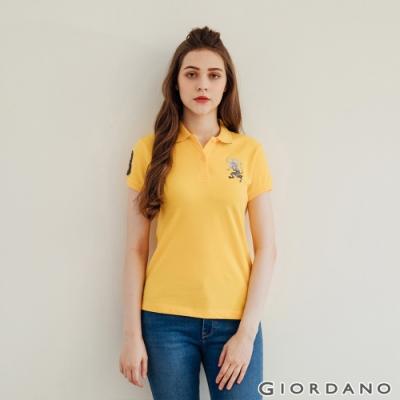 GIORDANO 女裝勝利獅王漸層刺繡彈力萊卡POLO衫-68 水仙花黃