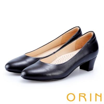 ORIN 簡約時尚OL 嚴選羊皮質感素面中跟鞋-黑色