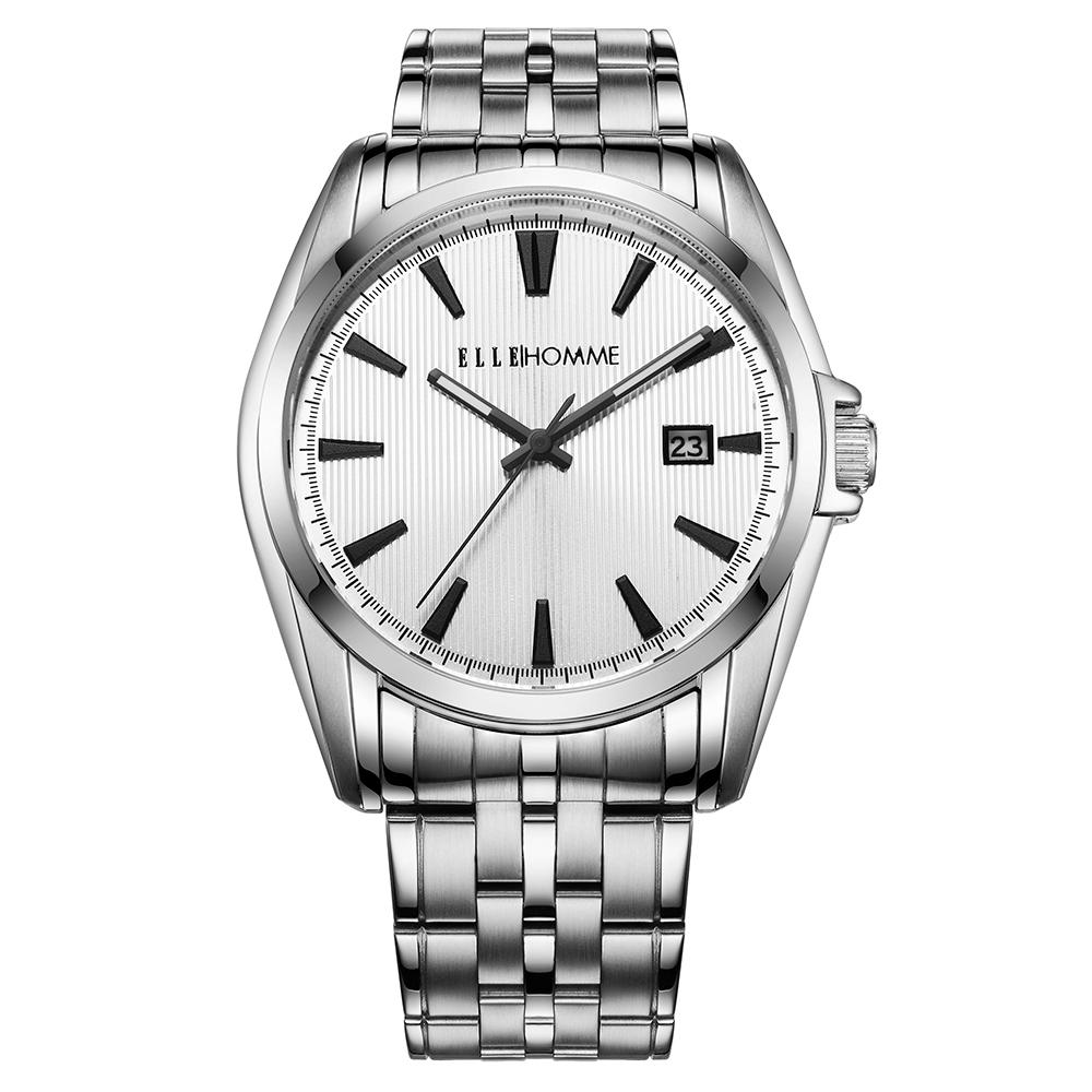 ELLE 知性簡約不鏽鋼男錶-白/40mm