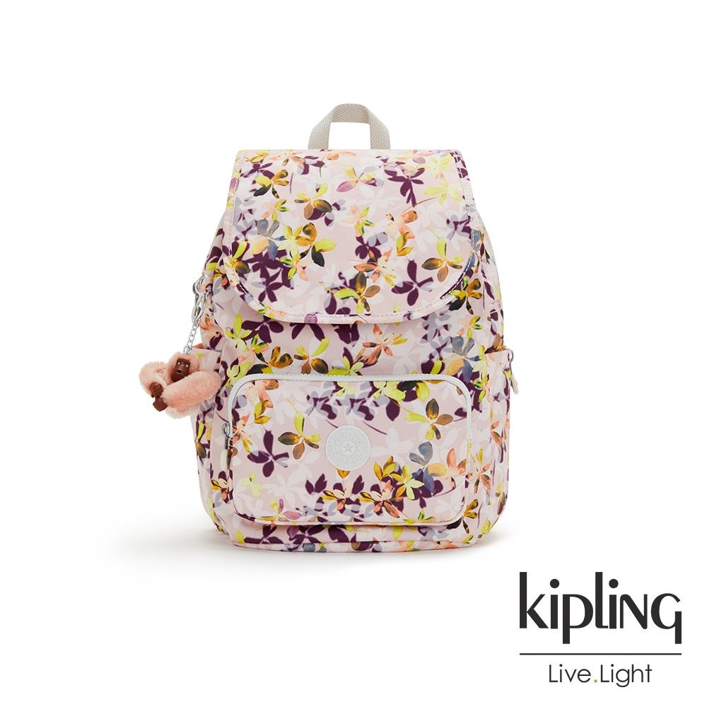 Kipling 飄零落花粉掀蓋式拉鍊後背包-CAYENNE S