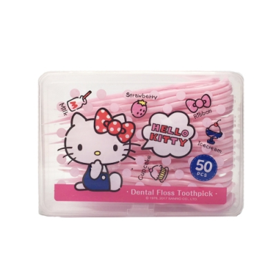 Hello Kitty 凱蒂貓 超韌牙線棒 50 入(盒裝) X 9 盒(台灣製)