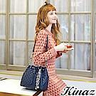 KINAZ 甜蜜盛宴兩用鏈帶斜背水桶包-莫爾納煙囪捲系列-快