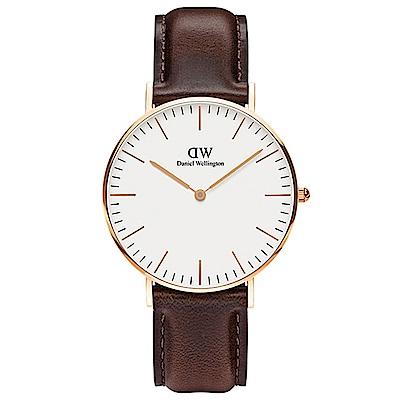 DW手錶 官方旗艦店 36mm玫瑰金框 Classic 深棕真皮皮革手錶