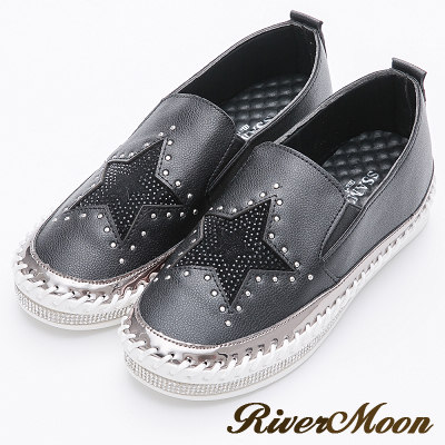 River&Moon韓版經典星星鑽石厚底懶人鞋-黑