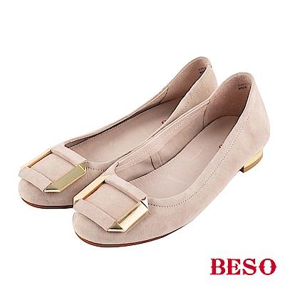 BESO 甜心風格 方釦娃娃鞋~米