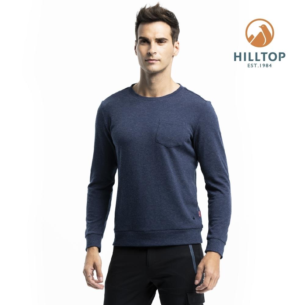 【hilltop山頂鳥】男款混羊毛保暖抗菌長袖薄上衣H51MI8深藍