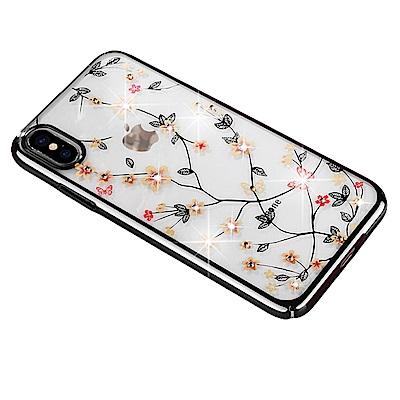 Carlgold 繁花系列 iPhone X (5.8) 電鍍印花鑲鑽透明手機殼