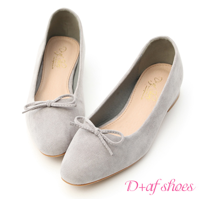 D+AF 芭蕾女伶.小尖頭絨料芭蕾娃娃鞋*灰