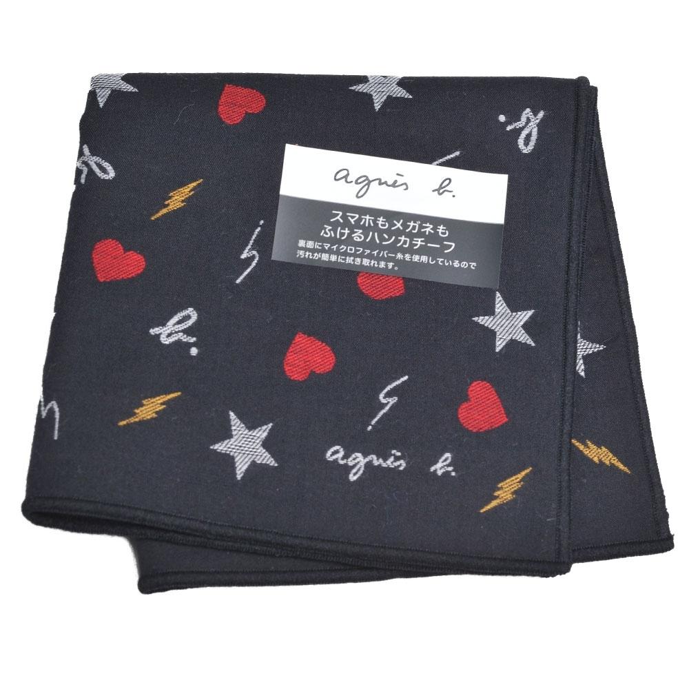 agnes b 超細纖維品牌繽紛LOGO圖騰小方巾(黑底)
