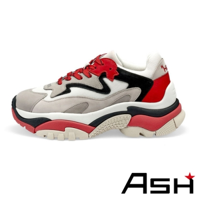 ASH-ADDICT潮流復古撞色厚底時尚增高老爹鞋-紅